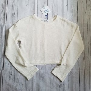 Zara Womens Cream Crop Top Sweater Size Small New
